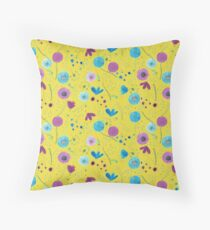 Pattern #46 - Wild blue and purple flowers on a bright and cheerful background Throw Pillow