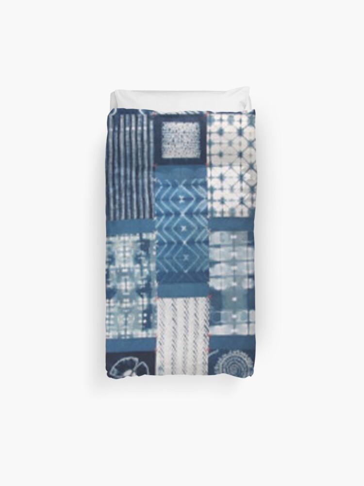 shibori indigo diy patchwork   Duvet Cover