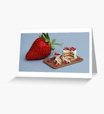 Tiny Cake & Huge Strawberry Greeting Card