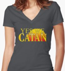 YES WE CATAN - Settlers of Catan Women's Fitted V-Neck T-Shirt