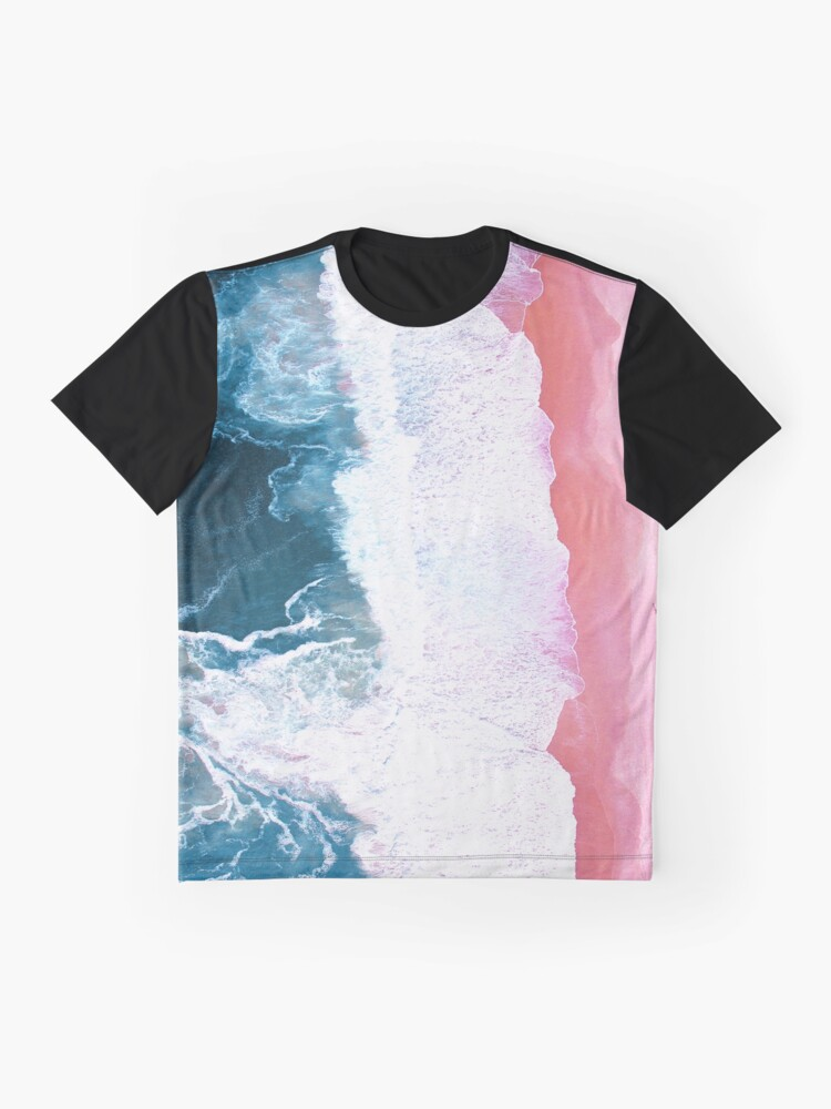 Alternate view of Aerial Beach, Ocean Waves Graphic T-Shirt