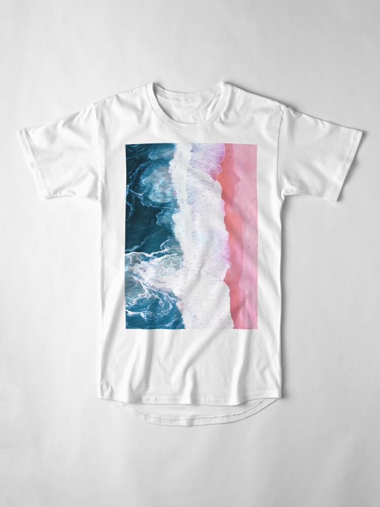 Alternate view of Aerial Beach, Ocean Waves Long T-Shirt