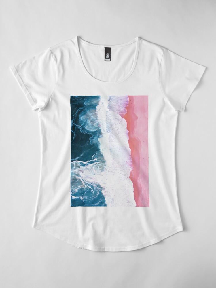 Alternate view of Aerial Beach, Ocean Waves Premium Scoop T-Shirt