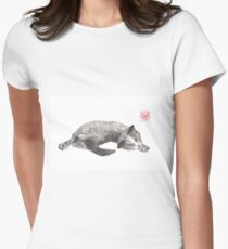 Dreamer kitten sumi-e painting Womens Fitted T-Shirt