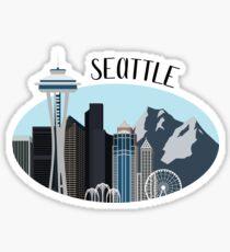 Pegatina Ilustración del horizonte de Seattle