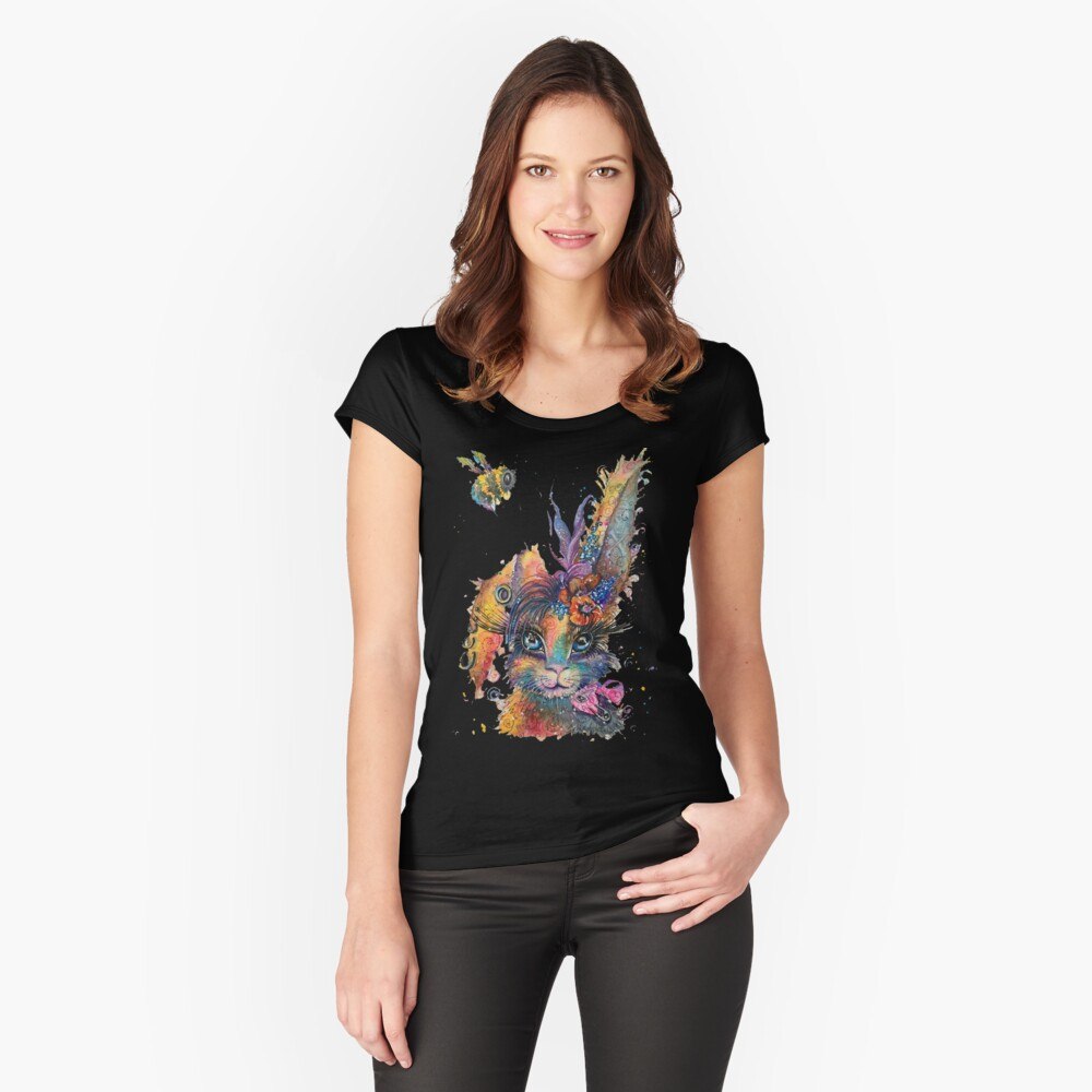 Steampunk Bunny Women's Fitted Scoop T-Shirt Front