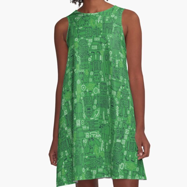 Robot pattern - Green - fun pattern by Cecca Designs A-Line Dress
