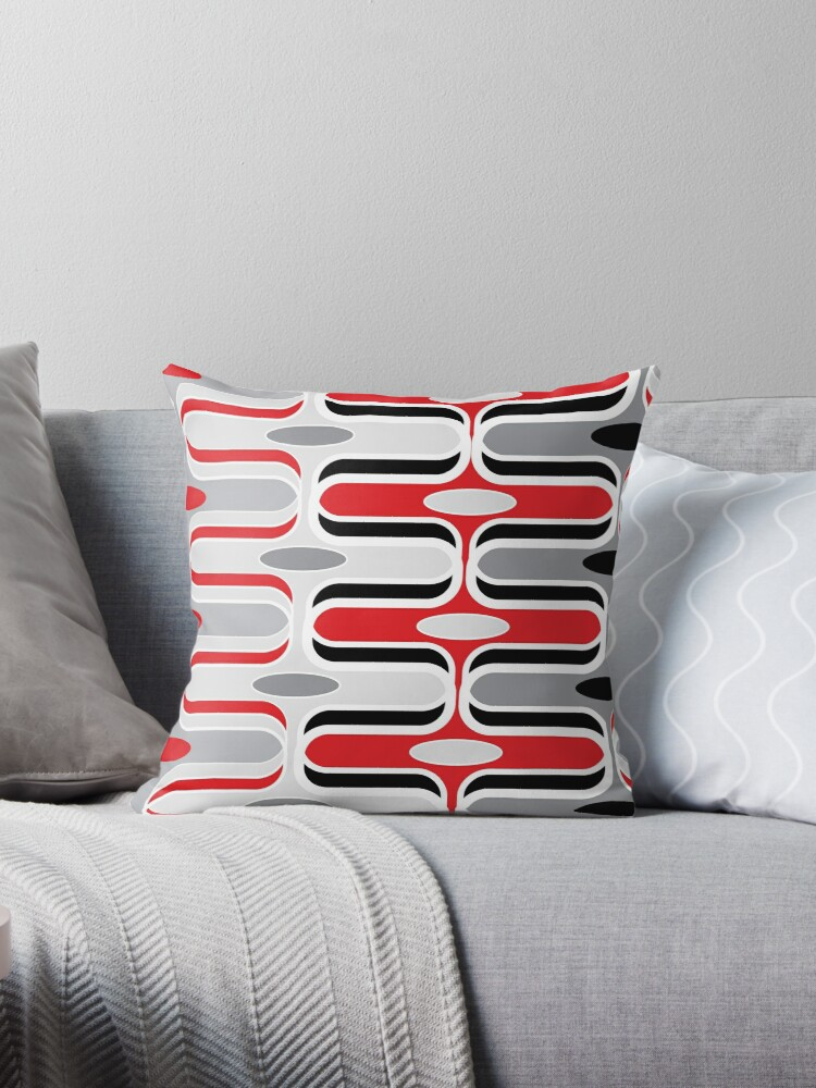 Retro Mod Ogee Red & Black Abstract Pod Pattern by fatfatin