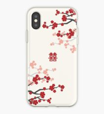 Red Oriental Cherry Blossoms on Ivory and Chinese Wedding Double Happiness | Japanese Sakura  iPhone Case
