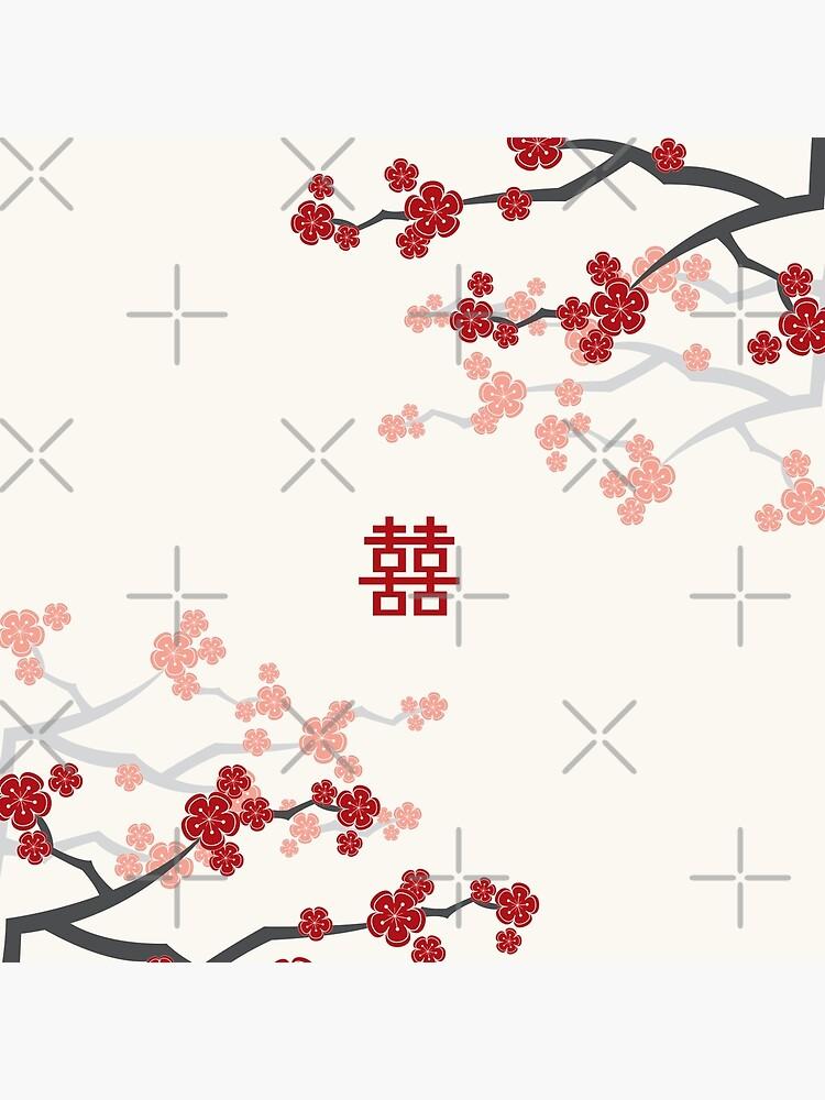 Rote orientalische Kirschblüten auf Elfenbein und chinesischer Hochzeit Japanische Sakura von fatfatin