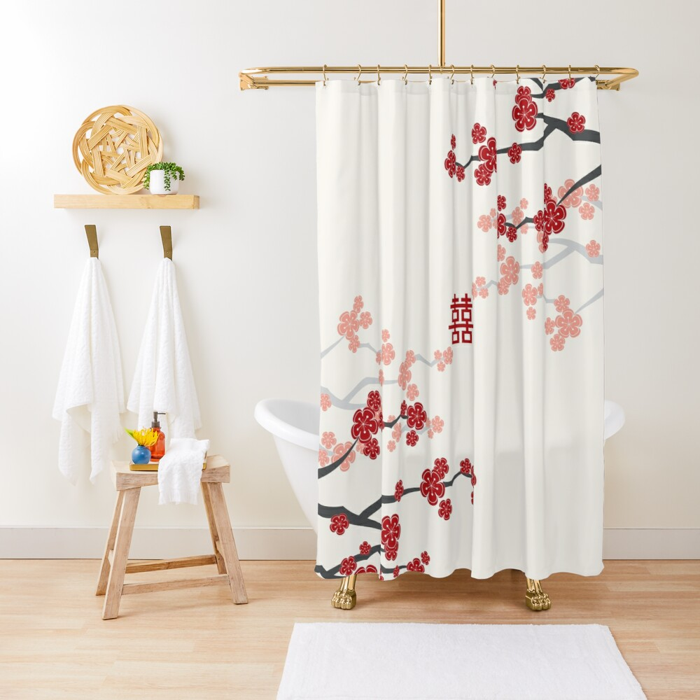Red Oriental Cherry Blossoms on Ivory and Chinese Wedding Double Happiness | Japanese Sakura  Shower Curtain