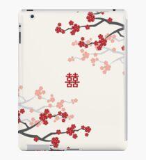 Rote orientalische Kirschblüten auf Elfenbein und chinesische Hochzeit Double Happiness | Japanische Sakura iPad-Hülle & Klebefolie