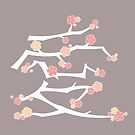 Chinese 'Ai' (Love) Calligraphy With Pink Cherry Blossoms On White Branches | Japanese Sakura Kanji by fatfatin