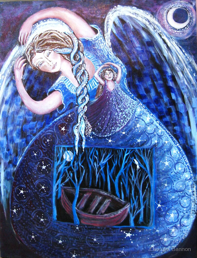 Night, Angel. blue, boat by Cheryle  Bannon