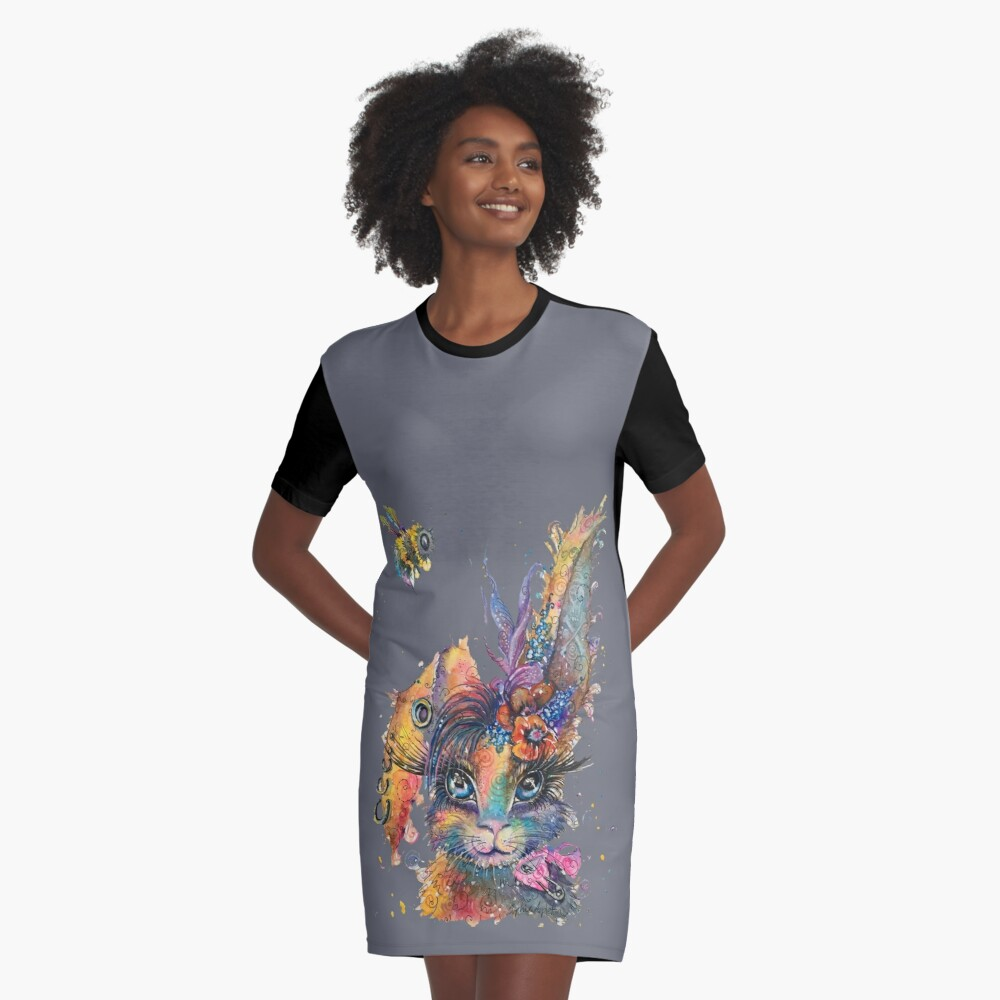 Steampunk Bunny Graphic T-Shirt Dress Front