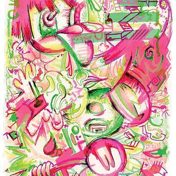 Pink Ink Random Doodles by AyaMasuda
