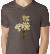 Double Narcissi In A Bouquet Isolated Men's V-Neck T-Shirt