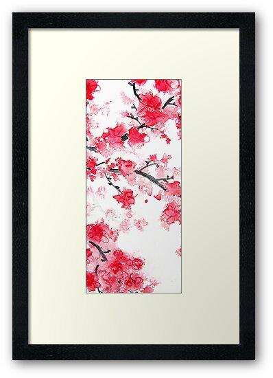 Cherry Blossoms Triptych II by Kathie Nichols