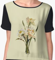 Double Narcissi In A Bouquet Isolated Chiffon Top