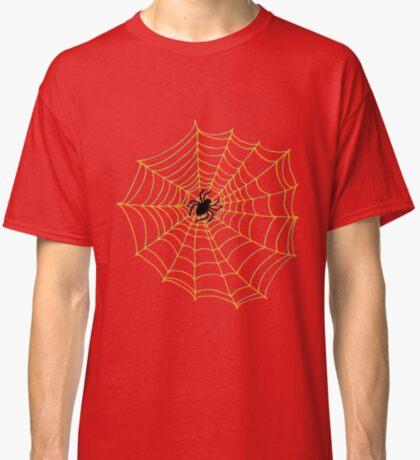 Spider Web Pattern - Black on Orange - Halloween pattern by Cecca Designs Classic T-Shirt