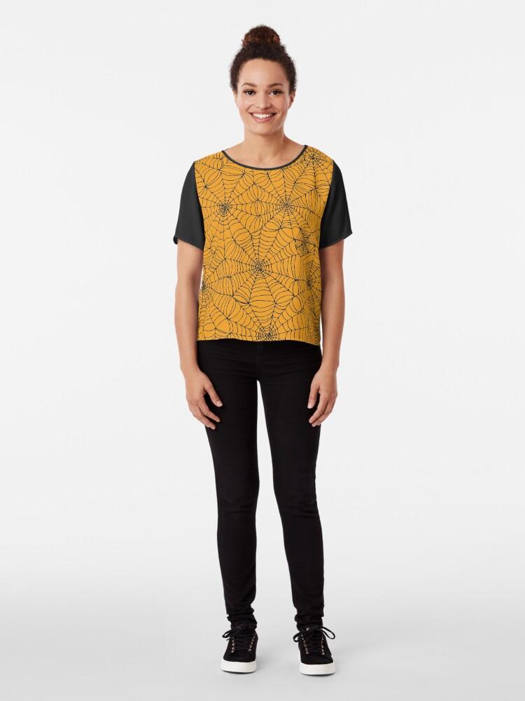Alternate view of Spider Web Pattern - Black on Orange - Halloween pattern by Cecca Designs Chiffon Top