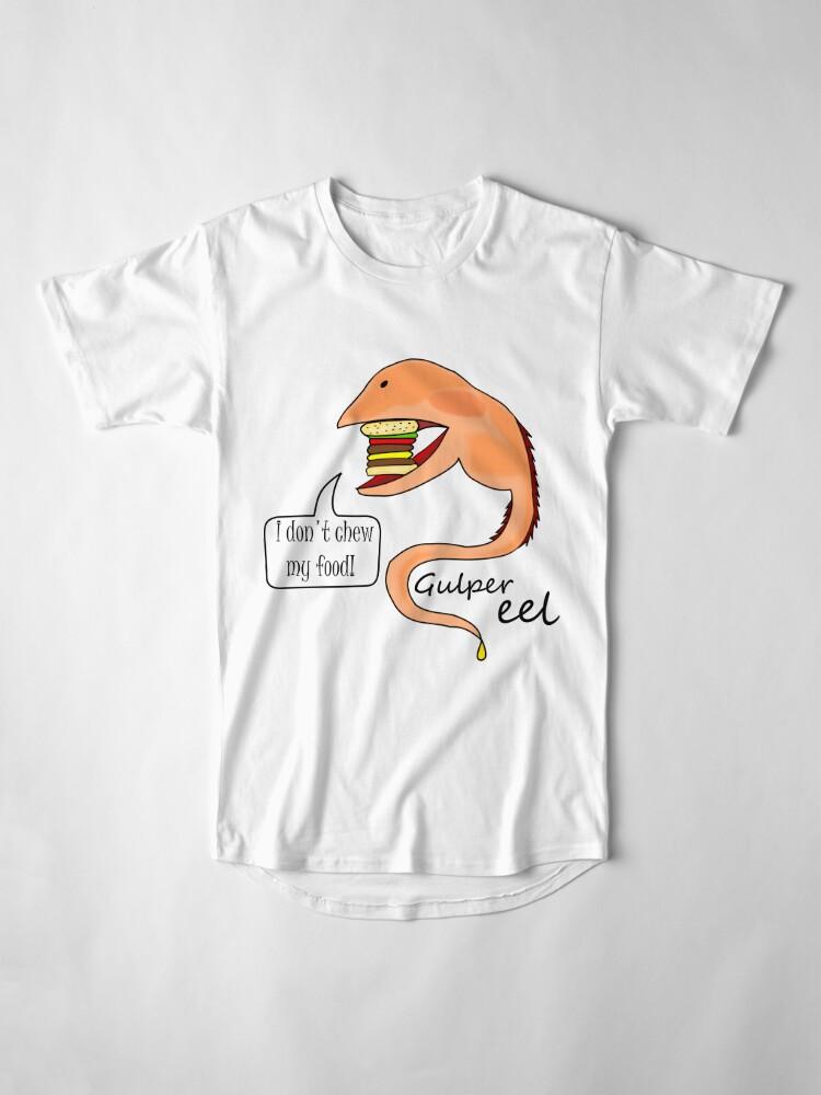 Vista alternativa de Camiseta larga Gulper eel no mastica su comida