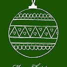 Merry Christmas - white bauble on green by badlydoodled