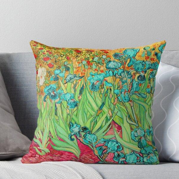 Van Gogh Irises/Teal Throw Pillow