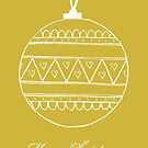 Merry Christmas - white bauble on gold by badlydoodled