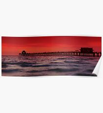 Sunset at Naples Pier Poster