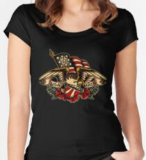 USA Made Patriotic Eagle Women's Fitted Scoop T-Shirt