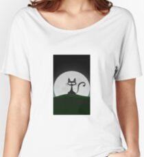 Cute Black Cat  Women's Relaxed Fit T-Shirt