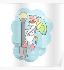 Unicorn Singin In The Rain Poster