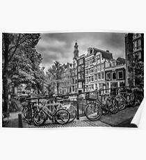 AMSTERDAM Flower Canal black & white Poster