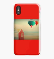 vintage/retro scenery beach huts on beach  iPhone Case/Skin