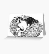 Tuxedo kitten ink drawing Greeting Card