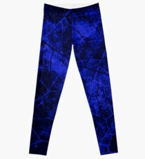 Deep Royal Blue Black Crackle Lacquer Pattern Grunge Texture Leggings