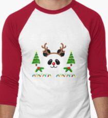 Christmas Panda Antlers  Men's Baseball ¾ T-Shirt