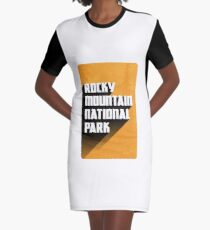Vintage Retro Rocky Mountain National Park Travel Decal Graphic T-Shirt Dress
