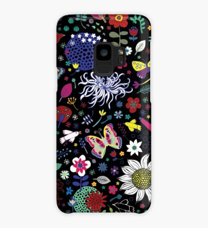 Japanese Garden - Multicolored on Black - exotic floral pattern by a Cecca Designs Case/Skin for Samsung Galaxy