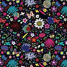 Japanese Garden - Multicolored on Black - exotic floral pattern by a Cecca Designs by Cecca-Designs