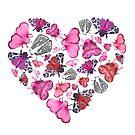 Pink Moths and Butterflies Love, Heart Shaped by Stephanie KILGAST