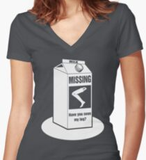 Missing: Have You Seen My Leg Prosthetic Leg? Funny T-Shirt for Amputees  Women's Fitted V-Neck T-Shirt