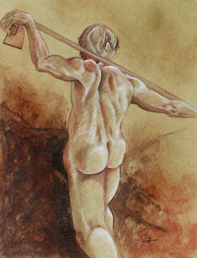 Standing Male Nude (Drawing)- by Robert Dye