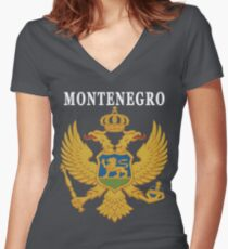Montenegro Eagle Original Deluxe National  Women's Fitted V-Neck T-Shirt