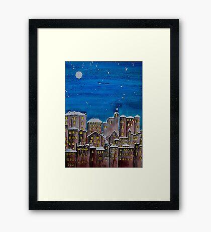 Winter City at Night Framed Print