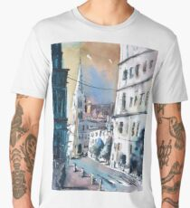 Imagined cityscape scene painted in watercolor by Raleigh, NC artist Ryan Fox Men's Premium T-Shirt