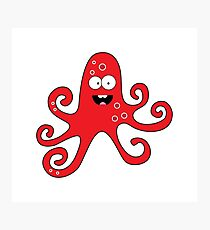 Funny cartoon girl octopus Photographic Print