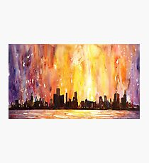 Chicago Skyline- watercolor painting Photographic Print