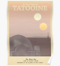 Tatooine Retro Travel Poster Poster